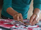 Pinning the quilt layers