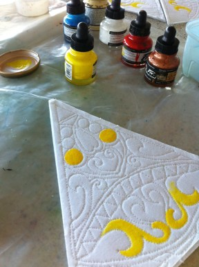 Painting with acrylic ink and extender to thicken the ink and avoid bleeding