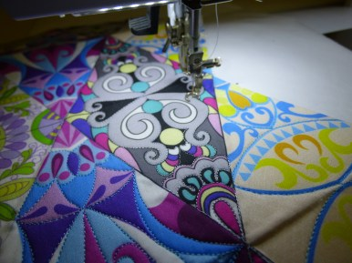 Sewing the fabric from Spoonflower - a Sue Duffy Design!