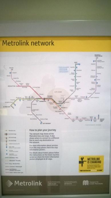 Metrolinkin (Manchesterin ratikan) reittikartta
