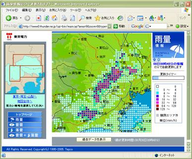 東京電力 雨量・雷観測情報(2006年8月8日午前6時48分の情報)