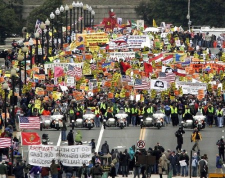 Demonstrators opposed to the Iraq war march across the Memorial Bridge in Washington, D.C.(J. David Ake / Associated Press)Mar 17, 2007