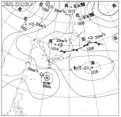 天気図(2012年7月17日12時、気象庁)