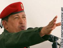 軍行事に出席するチャベス大統領=12月28日、カラカス(AP)