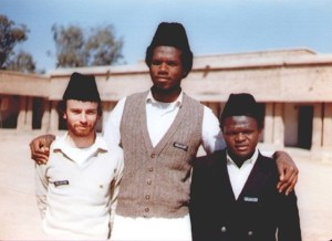Tahir Selby (left), alongside Azhar Hanif (centre) and Bakr Abeidi (right) at Jamia Ahmadiyyat, Pakistan.