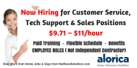 $9.71 – $11/hour Flexible Customer Service Jobs OPEN NOW