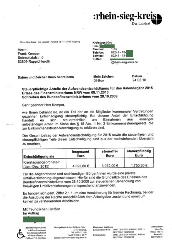 Aufwandsentschädigung Kreistag Rhein.-Sieg-Kreis 2015