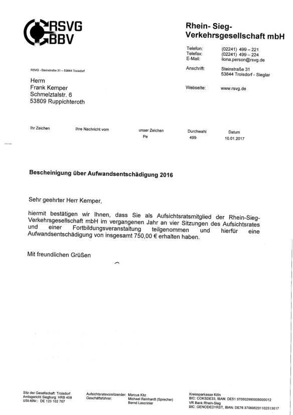 RSVG, Aufwandsentschädigung Frank Kemper 2016