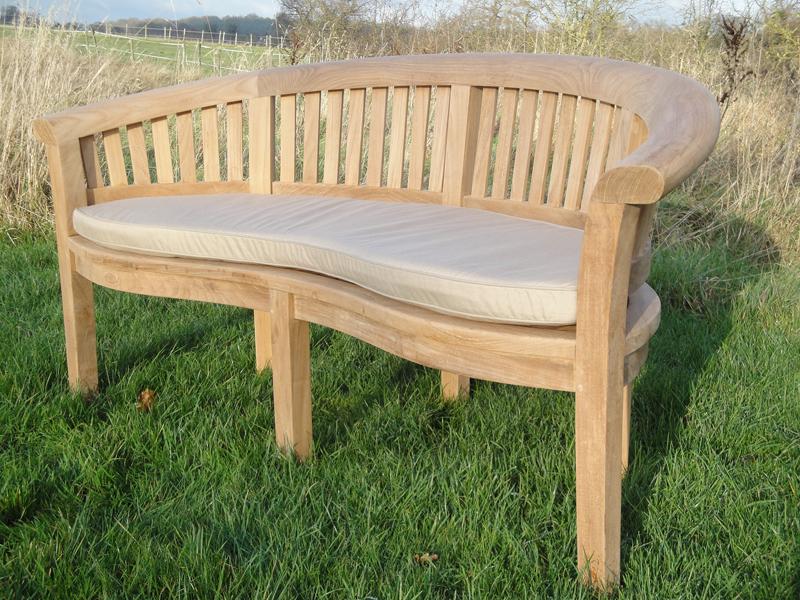 Half Moon Teak 3-Seater Curved Garden Bench Love Seat 166cm