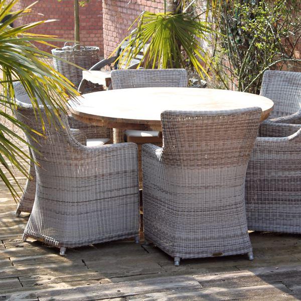 lowry 135cm reclaimed teak round garden dining table