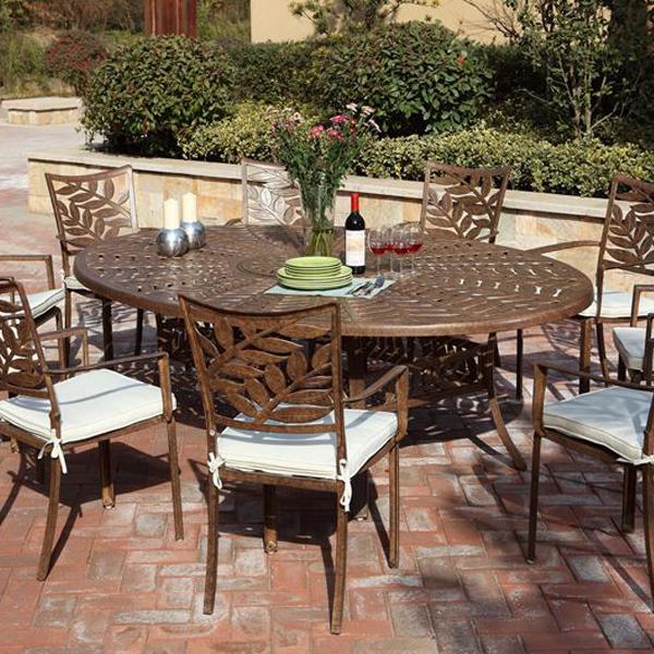 Forest Aluminium 6Seat Garden Oval Dining Set Cinnamon