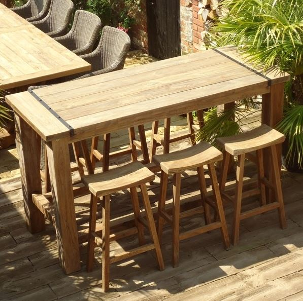 6 seater reclaimed teak bar set 2m long x 1 16m high dining bar table and 6 high stools