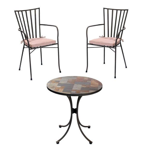 slasto tile mosaic 2 seater patio bistro set 90cm round table