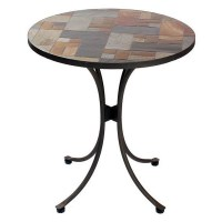 Slasto Tile Mosaic 70cm Round Patio Bistro Table - Rattan ...