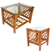 Brown Cane Conservatory Glass Top Coffee Side Table Set