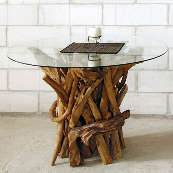 negara round reclaimed teak root glass topped dining table