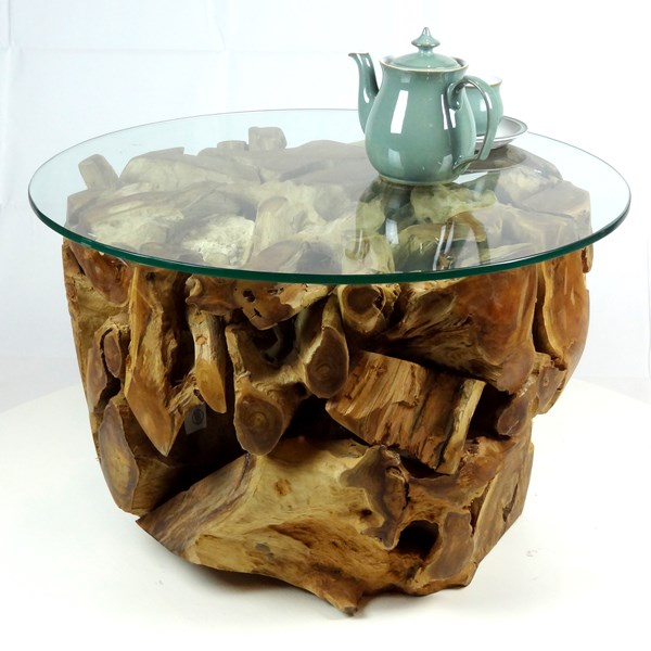 padang small round teak root coffee table 70cm glass top