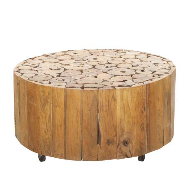 round drum coffee table reclaimed teak root dia 80cm h40cm ofili