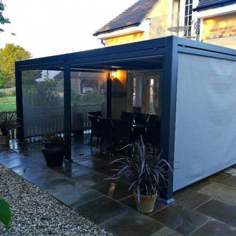 mojave large metal gazebo grey aluminium frame shuttered roof 350cm x 540cm