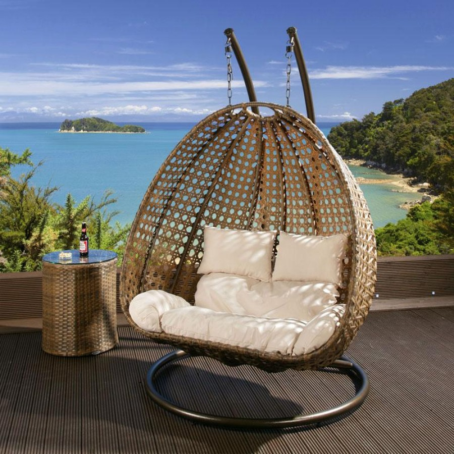 Hanging Chair Outdoor Outdoor 2 Person Garden Hanging Chair Brown Rattan