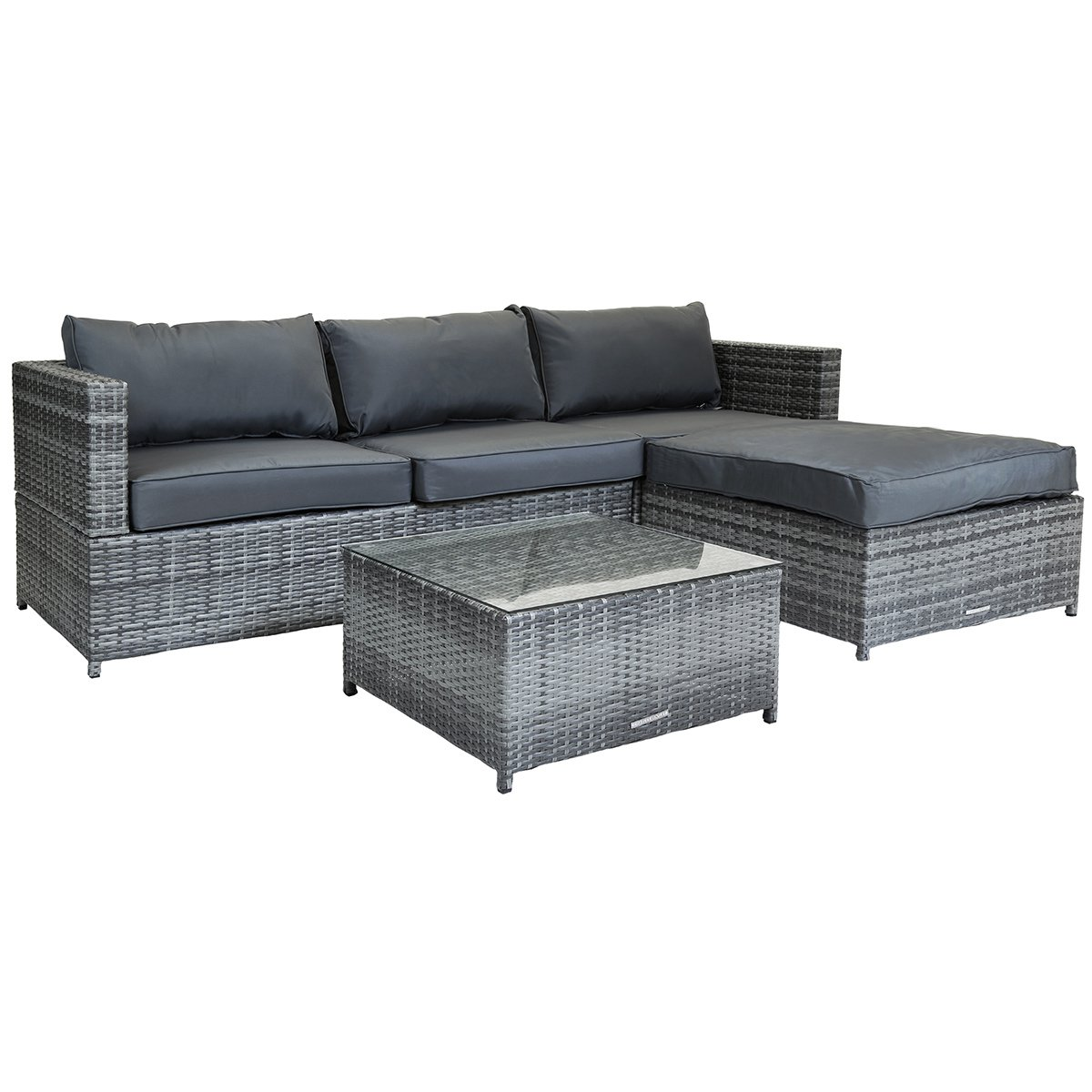 L Shaped Rattan Garden Sofa L Shaped 3 Seater Outdoor Rattan Furniture Lounge Set