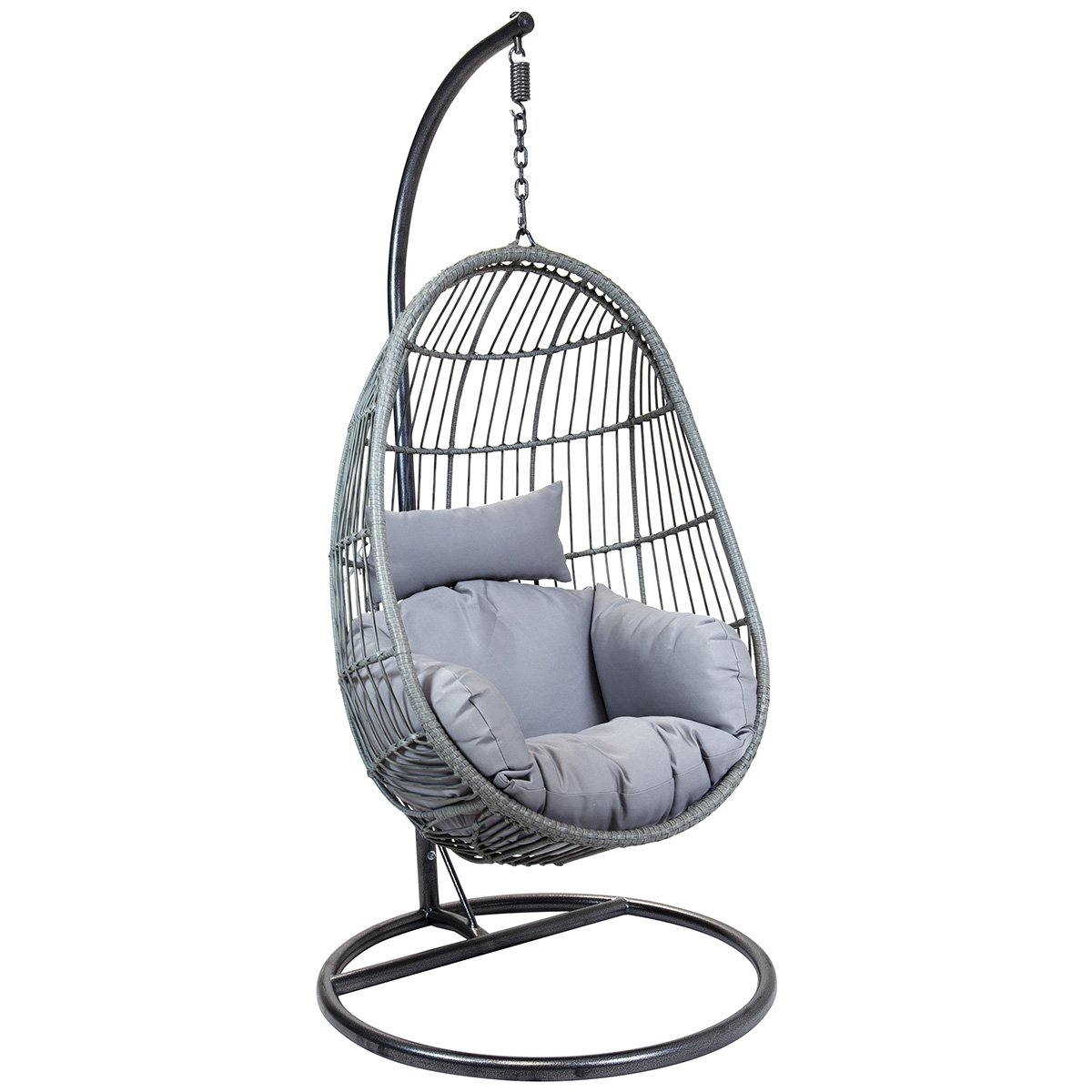 Hanging Patio Chair Hanging Egg Shaped Rattan Swing Chair With Cushion Grey
