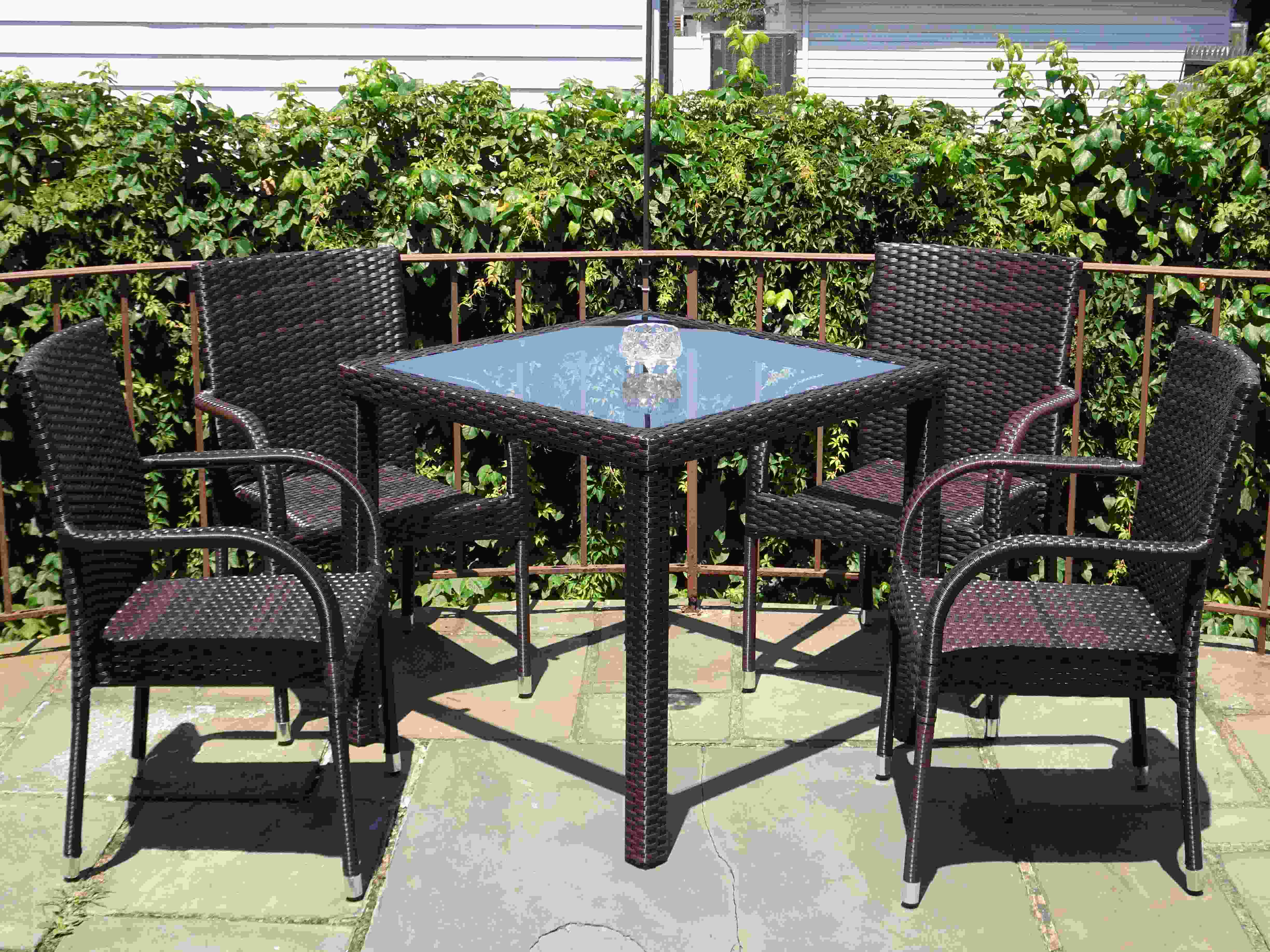 wicker chairs indoor dining modern grey uk buy patio 5-pc. dinning set: square table & armchairs in usa, best price, free shipping - rattan usa