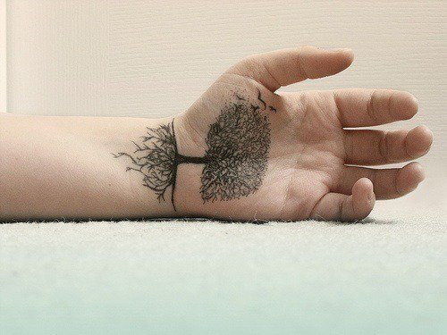 hand tattoos art in palm