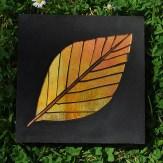 birch leaf concrete paver - hand gilded glass
