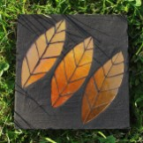 leaves concrete paver - hand gilded glass