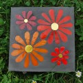 flowers concrete paver - smalti and gold leaf glass