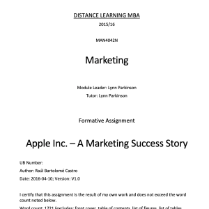 Apple Inc. – A Marketing Success Story