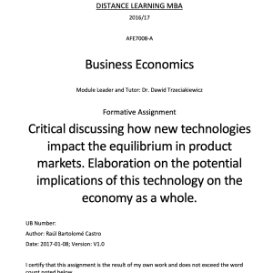 Critical discussing how new technologies impact the equilibrium in product markets. Elaboration on the potential implications of this technology on the economy as a whole