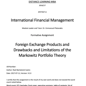 Foreign Exchange Products and Drawbacks and Limitations of the Markowitz Portfolio Theory