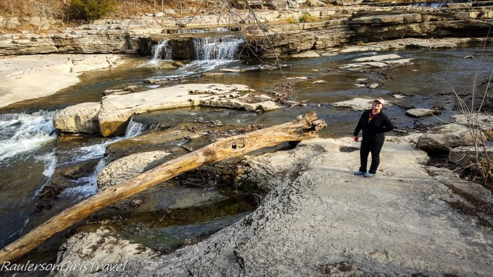 Kayla exploring Upper Cataract Falls in Indiana
