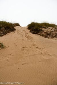 View looking up a sand dune in Ludington State Park