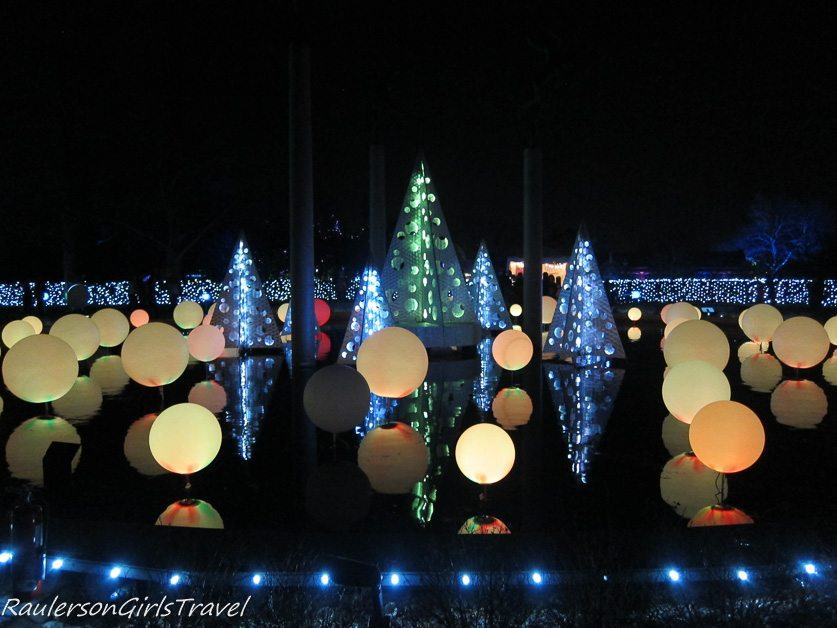 Center Pond With Balls U0026 Trees Decoarated With Lights At Garden Glow At  Missouri Botanical Gardens