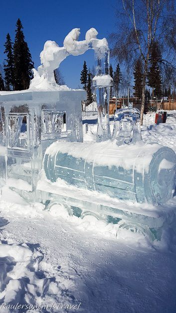 Train Engine Ice Sculpture