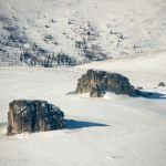 Erratic Glacier Rocks growing on top of Alaskan White Mountains