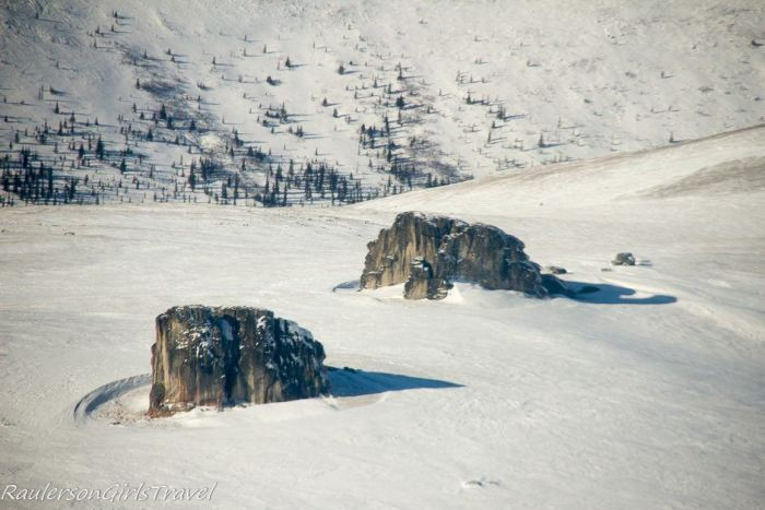 Erratic Glacier Rocks growing on top of Alaskan White Mountains