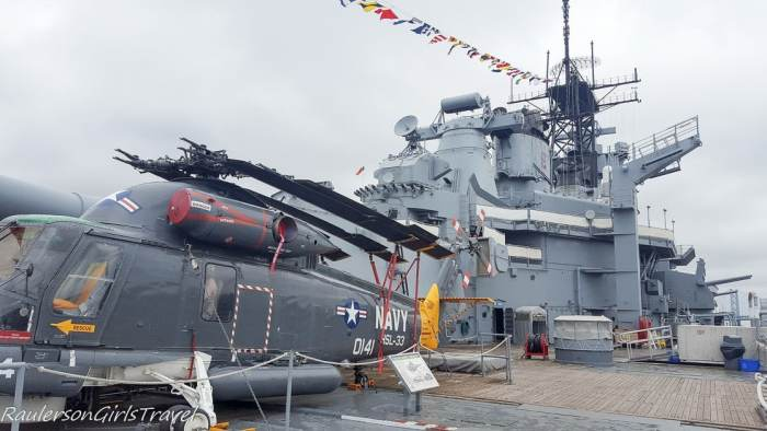Top deck of USS New Jersey Battleship with Helicopter