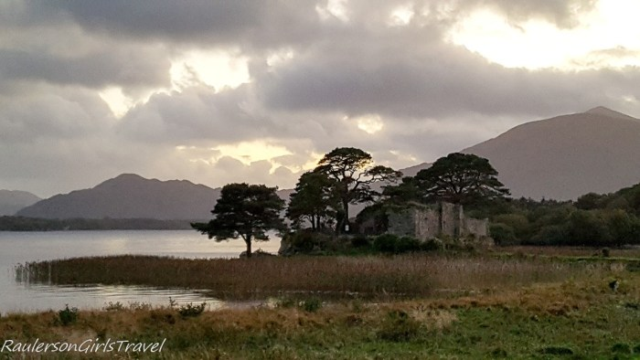 Ross Castle in Killarney Ireland at sunset
