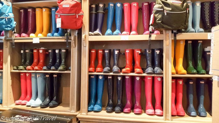 Colorful rain boots in Dingle, Ireland