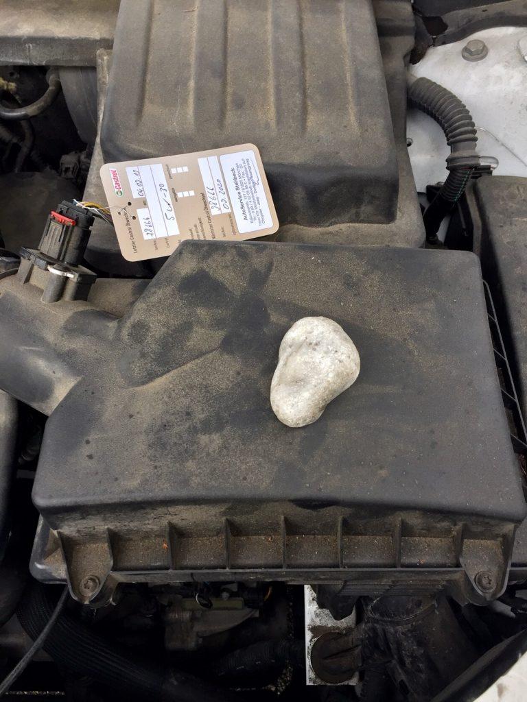 Hilfe. Ein Marder hat mir einen Stein ins Auto gelegt