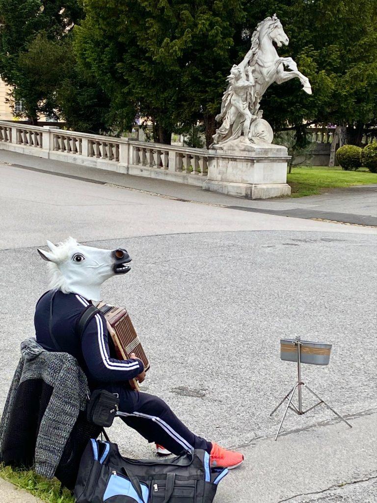 Quiz Wien eine Stadt in der Pferde Akkordeon spielen