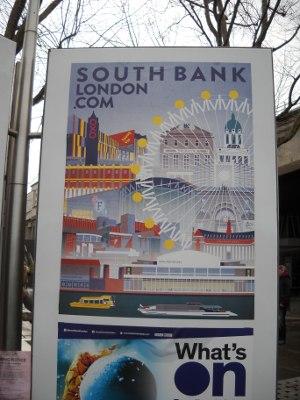 Plakat an der South Bank London wirbt für Weihnachten in London