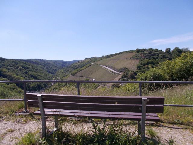 Ruhebank mit Blick auf das Gründelbachtal bei Sankt Goar.