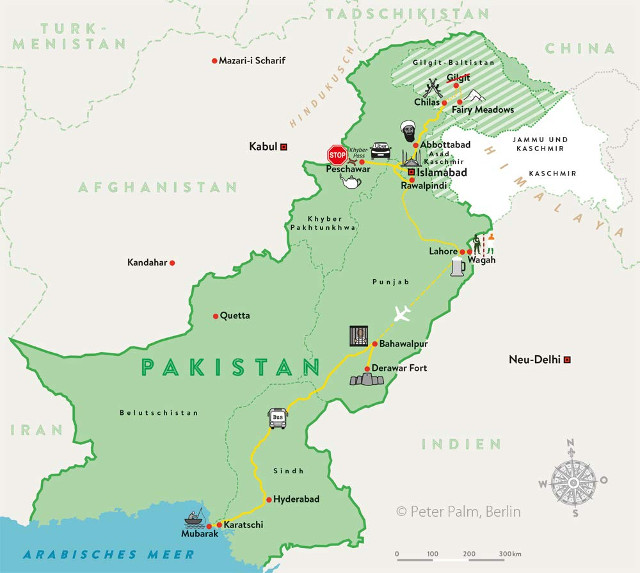 Karte der Route zu Backpacking in Pakistan