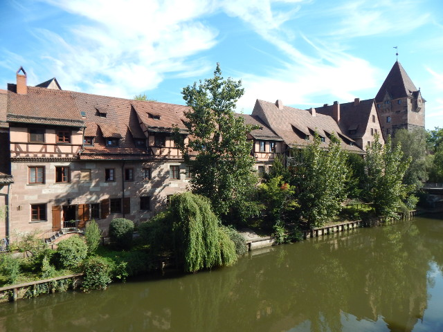 Historische Häuser an der Pegnitz in Nürnberg