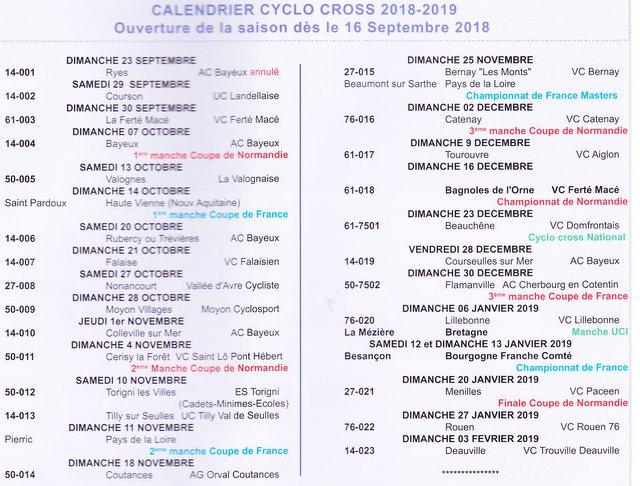 Calendrier Cyclo Cross.Saison Hivernale Calendrier Cyclo Cross 2018 2019 Auto